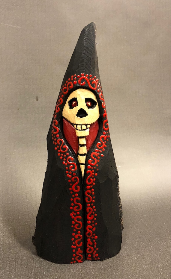 HAND CARVED original Halloween Skelly from 100 year old Cottonwood Bark