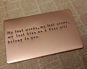 Father of the bride gift, copper wallet insert