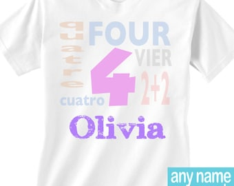 Girls 4 shirt | fourth birthday shirt | Girls 4 different languages | Cuatro | Girl's 4th birthday