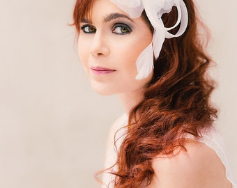 Bridal Headpiece silk flower Alba Rose Claudette sinamay loops feather headdress 010105-05 *Rijkstudio*