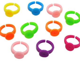 lot 30 rings supports child 14mm - 9mm - light pink top