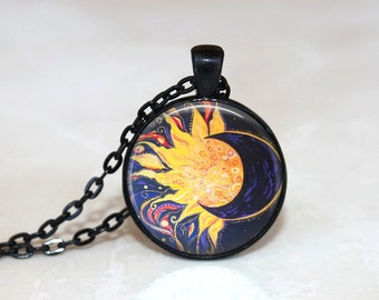 Sun and Moon Necklace Glass Tile Necklace Sun and Moon Jewelry  Celestial Jewerly Glass Tile Jewelry Moon Jewelry Black Jewelry Sun Jewelry