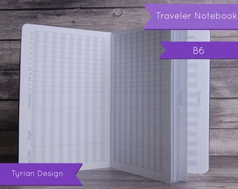 B6 Size Budget Book for Traveler's Notebook, B6 Size Yearly, Monthly Planning