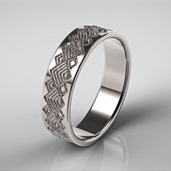 Mens platinum wedding ring square pattern ring zoom junglespirit Image collections