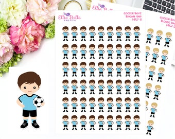 Soccer Boy Stickers,  Soccer Game, Soccer Practice, Planner Stickers
