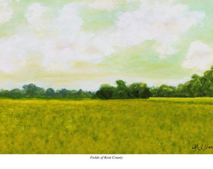 """Free Ship: """"Fields of Kent County"""" (Delaware) - Giclee Print of Oil Painting"""