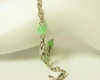 Green chrysoprase quartz and cross bracelet - CB05-002