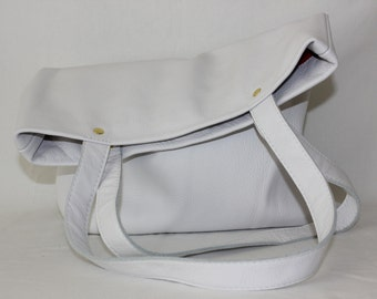 Large White Leather Vertical Tote Bag, White Tote Bag, Large Leather Tote Bag, Leather tote bag