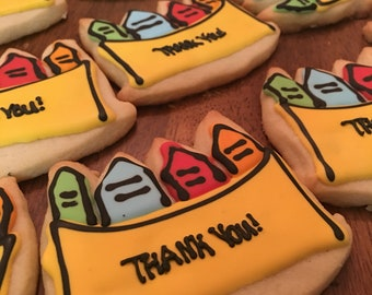"12 piece Crayon box ""Thank you"" cookies"