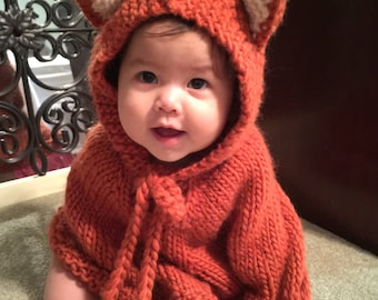 Baby Halloween costume. Baby fox. Baby Halloween outfit. Baby poncho. Girls cape. Children clothes. Baby photo prop. Baby animal costume.