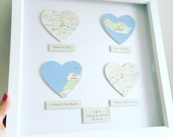Heart map frame, anniversary gift, gift for couples, wedding gift, romantic present,romantic gift, personalised gift, gift for newlyweds,