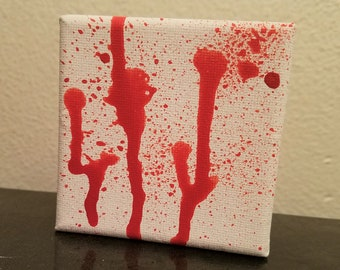 Blood Spatter Painting Cube