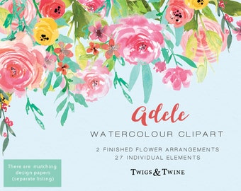 Hand-Painted Clipart - Watercolor Flowers - Adele. Hand painted set containing a floral drop and floral bouquet, plus floral elements.