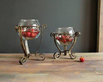 Pedestal Candle-holders Pair of Vintage Bowls Minimalist Light Bronze Color Office Decor Bedroom Lightning Cottage Chic Style Rustic Design
