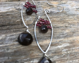 Faceted Garnet Rondelle - Smokey Quartz Briolette - Hand Formed Sterling Silver Base - Sterling Silver Ear Wire