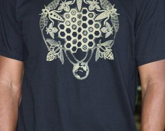 Men's Honey Bee Tee Shirt - Gold screenprint - Geometric honeycomb hexagons. Bee keeper shirt. Bee sacred geometry tee.