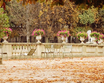 Paris Photography, Jardin du Luxembourg in the Autumn, Mint green chairs, Fall leaves in Paris, Paris Decor, Fall Photography