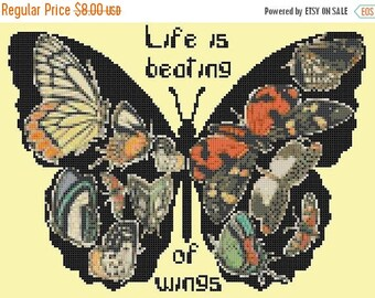 butterfly cross stitch pattern Pdf butterfly pattern butterfly needlepoint - 165 x 120 stitches - INSTANT Download - B1580