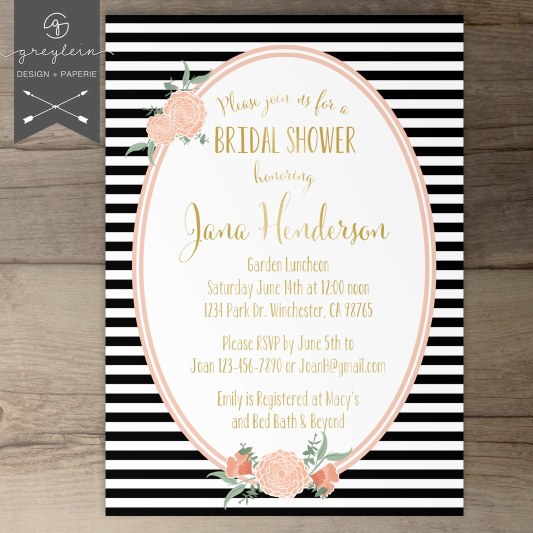 Black White Gold Bridal Shower Invitations Stripes and