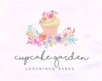 Hand-painted Watercolor Floral Cake Cupcake Pre-made Logo Design in pastel colors
