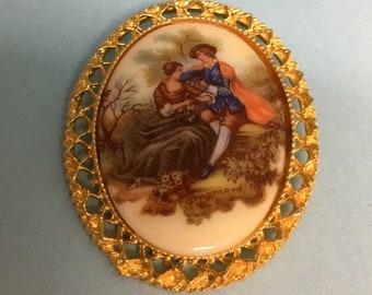 1970-80s Vintage Fragonard Transfer image cameo, portrait Brooch, broach romantic jewelry