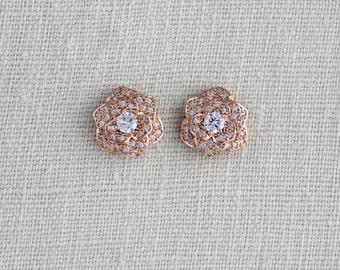 Rose Gold stud earrings, Crystal stud earrings, Bridal earrings, Flower stud earrings, Rose Gold earrings, Wedding jewelry Bridesmaid, BELLA