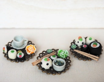 Sushi Dinner Brooch Japanese Sushi Plate Miniature Food Jewelry Sushi Jewelry Food Brooch Gift for her Food gift