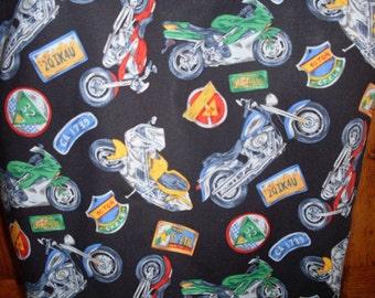 Motorcycle Print Reversible Fabric Tote Bag Purse