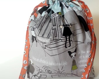 Zombie Drawstring Bag Book Toys Dice Cards Gift Grey Blue Orange