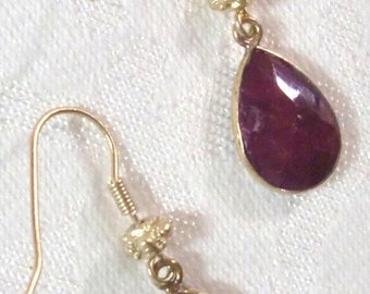 Earrings: Genuine Ruby Teardrops (Enhanced) in Vermeil Channel Settings and Satin Hamilton Gold Hooks with Bali-Style Bead Embellishment