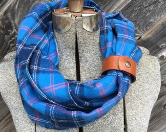 Blue plaid flannel eternity scarf with a brown leather cuff - soft, trendy