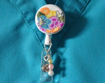 SPRING DAY - Polymer Clay Retractable Badge Holder