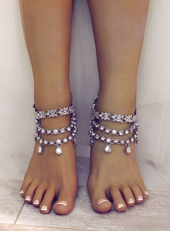 Sia Silver Anklet Beach Wedding Sandals Foot Jewelry for