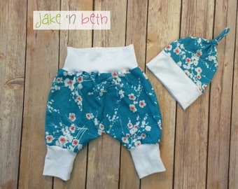 Floral baby harem pants and knot hat set, baby gift, girls spring set, cherry blossoms