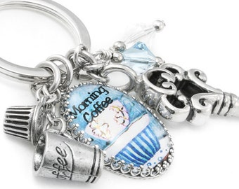 I Love Coffee - Coffee Key chain - Coffee Key Ring - Coffee Jewelry - Gift for Coffee Lover