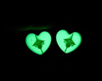 "18mm Snake Glow in the Dark Heart Ear Plugs Gauges 11/16"", Real Animal Bones Spine Bone Vertebrae Taxidermy Body Jewelry:LOVED EARS by {118}"