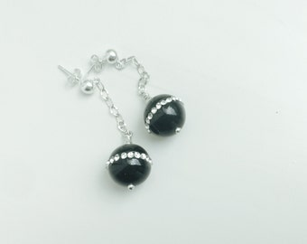 Black Onyx Sterling Silver And Crystal Drop Earring