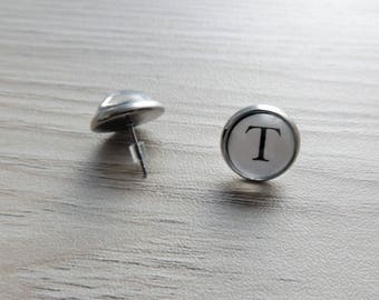 Initial earrings // Typewriter earrings // personalized earrings // Letter T earrings