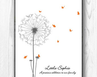 Baby Shower Guest Book Personalized Fingerprint Guest Book, Dandelion Thumbprint Finger Print Guestbook butterfly - DIGITAL PRINTABLE JPEG
