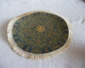 dollhouse miniature vintage rug, blue with fringe