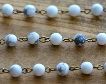 Gemstone Bead Chain White Marble Bead Chain 6mm Round Beads on Antique Bronze Wire Necklace Bracelet Rosary Chain Jewelry Making (EC176)