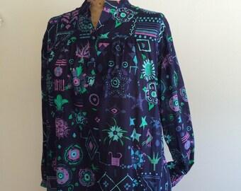 Ken Scott vintage cotton summer caftan dress mu mu beach dress size 8
