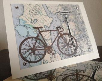 12-pack Seattle Bike et carte - cartes de voeux sérigraphié Gocco