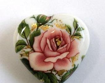 Wholesale NEW Japanese Tensha Heart Bead Pink Rose on White 23 MM (4)