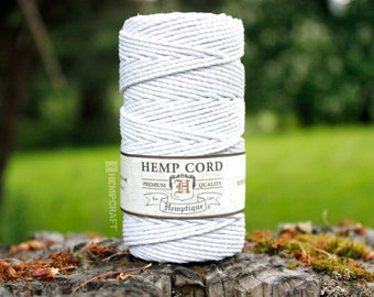 Single Spool of Pure White 2mm Hemptique™ Brand Hemp Twine - 205ft in Length - 48lb Test - Eco-Friendly, Colorfast, and Biodegradable!
