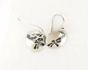 Sterling dragonfly earrings, damselfly jewelry, lagoon accessory
