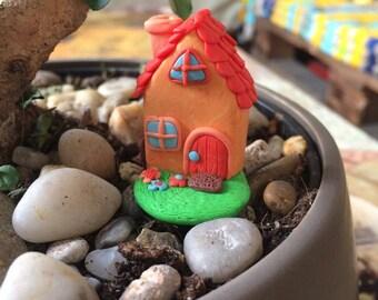 Décoration de pot maison miniature orange