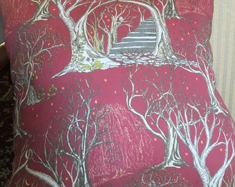 Throw pillow, couch pillow, in an antiqued red magical scene- a lovely gift for Valentine's Day.16 by 16 inches