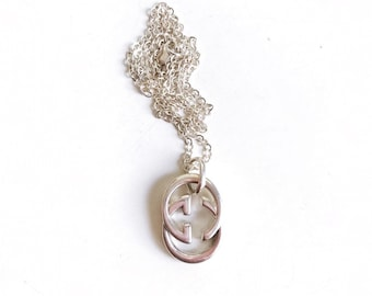 Large Vintage Silver Repurposed Gucci Charm Necklace