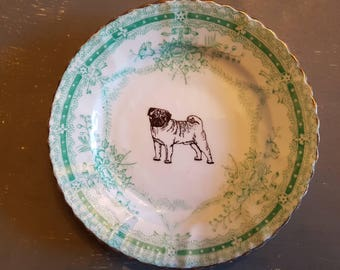 Vintage plate with pug decal